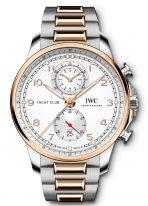 Мужские наручные часы IWC Portugieser IW390703 хронограф в биколорном корпусе (сталь/розовое золото), посеребренный циферблат, биколорный браслет