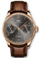 Мужские наручные часы IWC Portugieser IW500702 с запасом хода в розовом золоте, грифельный циферблат, золотые арабские цифры и стрелки, коричневый ремешок