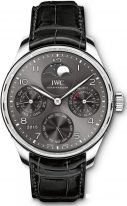 Мужские наручные часы IWC Portugieser IW503301 с вечным календарем, фазами Луны и запасом хода в белом золоте, на грифельно-сером циферблате арабские цифры покрытые родием и тонкие стрелки, ремешок кроко.