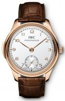 Мужские наручные часы IWC Portugieser IW544907 минутный репетир в розовом золоте, на белоснежном циферблате маленькая секундная стрелка, коричневая кроко