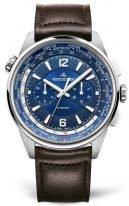 Мужские спортивные часы Jaeger Le Coultre Polaris 905 T4 80 в стальном корпусе, мировое время с хронографом, синий циферблат, коричневая кожа кроко