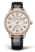 Женские классические часы Jaeger Le Coultre Rendez Vous 344 24 30 в розовом золоте с бриллиантовым рантом, светлый циферблат, указатель день/ночь, кожа кроко