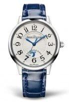 Женские классические часы Jaeger Le Coultre Rendez Vous 344 84 10 в стальном корпусе, индикатор день/ночь, гильошированный циферблат, синяя кожа кроко.