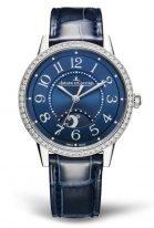 Женские классические часы Jaeger Le Coultre Rendez Vous 344 84 80 в стальном корпусе с бриллиантовым рантом, индикатор день/ночь, гильошированный циферблат, ремешок кроко.