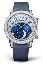 Женские классические часы Jaeger Le Coultre Rendez Vous 352 34 90 в белом золоте с бриллиантовым рантом, фазы Луны, синий циферлат, синий сатин.