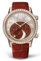 Женские классические часы Jaeger Le Coultre Rendez Vous 353 24 90 розовое золото с бриллиантовым рантом, фазы Луны, циферблат авантюрин, красная кожа кроко