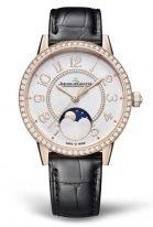 Женские классические часы Jaeger Le Coultre Rendez Vous 357 24 30 в розовом золоте с бриллиантовым рантом, фазы Луны, светлый циферблат, кожа кроко.
