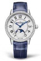 Женские классические часы Jaeger Le Coultre Rendez Vous 357 84 30 стальной корпус с бриллиантовым рантом, фазы Луны, светлый циферблат, синяя кожа кроко