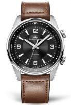 Мужские спортивные часы Jaeger Le Coultre Polaris 900 84 71 в стальном корпусе, черный циферблат, коричневая кожа кроко.