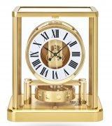 Настольные часы, которые не нуждаются в подзаводе Jaeger Le Coultre Atmos-5101202 с золотым покрытием, часы и минуты, лаковый белый циферблат с черными римскими цифрами.