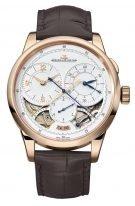 Мужские классические часы Jaeger Le Coultre Duometre 601 24 21 в розовом золоте, хронограф с двойным запасом хода, серебристый циферблат, коричневый кроко.