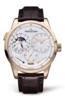 Мужские классические часы Jaeger Le Coultre Duometre 604 24 21 в розовом золоте, дата с фазой Луны, опаловый циферблат, коричневая кожа кроко.
