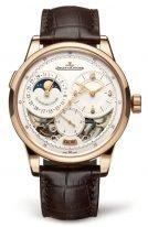 Мужские классические часы Jaeger Le Coultre Duometre 604 24 22 в розовом золоте, запас хода с фазами Луны и датой, серебристый циферблат, коричневая кожа кроко.
