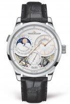 Мужские классические часы Jaeger Le Coultre Duometre 604 34 20 в белом золоте, два запаса хода, фазы Луны и дата, опаловый циферблат, ремешок черный кроко.