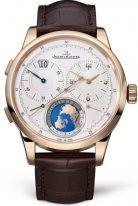 """Мужские классические часы с концепцией Dual-Wing Jaeger Le Coultre Duometre-6062420 в розовом золоте, двойной запас хода со временем второго часового пояса, на светлом циферблате """"карта Мира"""", коричневая кожа кроко."""