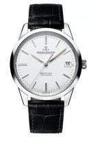 Мужские классические часы Jaeger Le Coultre Geophisic-8018420 в стальном корпусе, дата, часы и минуты, серебристый циферблат, черная кожа кроко.