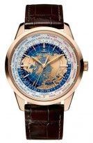 """Мужские классические часы Jaeger Le Coultre Geophisic-8102520 в розовом золоте с мировым временем и """"true second"""", синий лаковый циферблат, коричневая кожа кроко."""