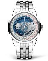 Мужские классические часы Jaeger Le Coultre Geophisic-8108120 в стальном корпусе, мировое время, синий светлый циферблат, стальной браслет.