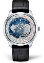Мужские классические часы Jaeger Le Coultre Geophisic-8108420 в стальном корпусе, мировое время и время второго часового пояса, синий лаковый циферблат, черная кожа кроко.