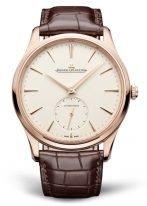 Мужские классические часы Jaeger Le Coultre Master 121 25 10 в розовом золоте, с маленькой секундной стрелкой, светлый циферблат, коричневая кожа кроко.