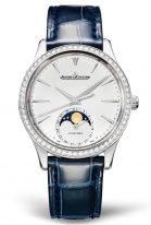 Женские классические часы Jaeger Le Coultre Master 125 84 01 в стальном корпусе с бриллиантовым рантом, с датой и фазами Луны, серебристый циферблат, синяя кожа кроко.