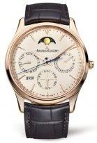 Мужские классические часы Jaeger Le Coultre Master 130 25 20 в розовом золоте, вечный календарь с фазами Луны, бежевый циферблат, коричневый ремешок.