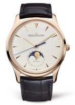 Мужские классические часы Jaeger Le Coultre Master 136 25 20 в розовом золоте, дата и фазы Луны, песочный циферблат, коричневый ремешок кроко.