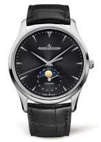 Мужские классические часы Jaeger Le Coultre Master 136 84 70 в стальном корпусе, дата и фазы Луны, черный циферблат, черный кроко.