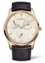 Мужские классические часы Jaeger Le Coultre Master 137 25 20 в розовом золоте, с запасом хода и датой, бежевый циферблат, ремешок кроко.