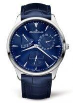 Мужские классические часы Jaeger Le Coultre Master 137 84 80 в стальном корпусе, с датой и запасом хода, синий циферблат, синяя кроко.