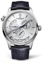 Мужские классические часы Jaeger Le Coultre Master 142 84 21 в стальном корпусе, мировое время с запасом хода, серебристый циферблат, кожа кроко.
