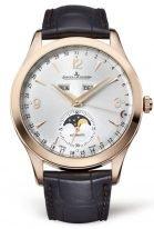 Мужские классические часы Jaeger Le Coultre Master 155 25 20 в розовом золоте, годовой календарь с фазами Луны, серебристый циферблат, коричневый ремешок кроко.