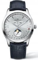 Мужские классические часы Jaeger Le Coultre Master-1558420 в стальном корпусе, годовой календарь с фазами Луны, серебристый циферблат, черный ремешок кроко.