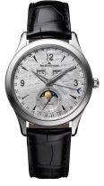 Мужские классические часы Jaeger Le Coultre Master-1558421 в стальном корпусе, годовой календарь с фазами Луны, серый циферблат из метеорита, черный кроко.