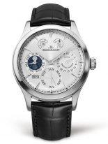Мужские классические часы Jaeger Le Coultre Master-1618420 вечный календарь с фазами Луны, серебристый циферблат, черная кожа кроко.