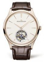 Мужские классические часы Jaeger Le Coultre Master 168 24 10 в розовом золоте, турбийон, бежевый циферблат, ремешок кроко.