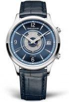 Мужские классические часы Jaeger Le Coultre Master 410 84 8J в стальном корпусе, будильник с датой, синий циферблат, синий кожаный ремешок.