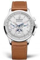 Мужские классические часы Jaeger Le Coultre Master 413 84 20 в стальном корпусе, хронограф, годовой календарь, светлый циферблат, рыжий телячий ремешок.