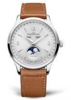 Мужские классические часы Jaeger Le Coultre Master 414 84 20 в стальном корпусе, годовой календарь с фазами Луны, светлый циферблат, рыжий телячий ремешок.