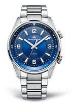 Мужские спортивные часы Jaeger Le Coultre Polaris-9008180 в стальном корпусе, синий циферблат, стальной браслет.