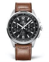Мужские спортивные часы Jaeger Le Coultre Polaris-9028471 в стальном корпусе, хронограф, черный циферблат, коричневая кожа кроко.