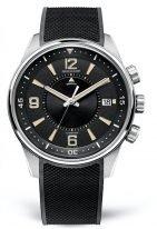 Мужские спортивные часы Jaeger Le Coultre Polaris-9038670 в стальном корпусе, с функцией будильника и датой, черный циферлат, черный каучук.