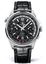Мужские спортивные часы Jaeger Le Coultre Polaris 905 T4 70 в титановом корпусе, мировое время с хронографом, черный циферблат, черная кожа кроко.