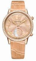 Женские классические часы Jaeger-leCoultre Rendez Vous-3522420 в розовом золоте с бриллиантовым рантом, фазы Луны, золотой гильошированный циферблат, кожа кроко