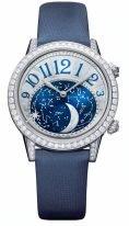 Женские классические часы Jaeger-leCoultre Rendez Vous-3523490 в белом золоте с бриллиантовым рантом, фазы Луны, индикация времени встречи, перламутровый циферблат, ремешок сатин.