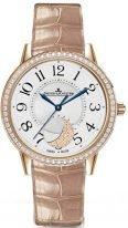 Женские классические часы Jaeger-leCoultre Rendez Vous-3572420 в розовом золоте с бриллиантовым рантом, фазы Луны, гильошированный циферблат, кожа кроко.