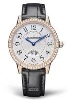 Женские классические часы Jaeger Le Coultre Rendez Vous 347 25 30 в розовом золоте с бриллиантовым рантом, с датой, серебристый гильошированный циферблат, черный ремешок.