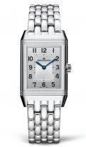 Женские классические прямоугольные двухсторонние часы Jaeger Le Coultre Reverso-2588120 в стальном корпусе, два циферблата: светлый с бриллиантовым рантом и черным, стальной браслет.