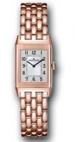 Женские классические прямоугольные часы Jaeger Le Coultre Reverso-2662130 в розовом золоте, с двумя циферблатами, время второго часового пояса, браслет из розового золота.
