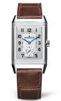Мужские классические прямоугольные часы Jaeger Le Coultre Reverso-3858522 в стальном корпусе, часы и минуты, серебристый гильошированный циферблат, коричневая кожа кроко